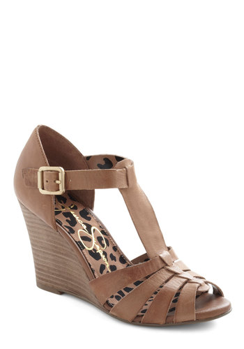 Caramel Topping the Charts Wedge - Mid, Leather, Tan, Solid, Cutout, Wedge, Peep Toe, Party