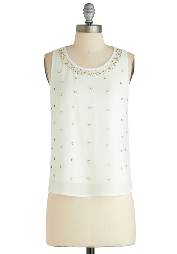 Demure So Charming Top - Short, White, Pearls, Rhinestones, Sequins, Work, Sleeveless, Party, Exclusives, White, Sleeveless