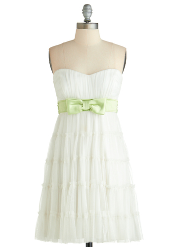 Elegant Achievement Dress - Short, White, Green, Solid, Bows, Belted, Empire, Strapless, Sweetheart, Prom, Wedding, Party, Graduation, Fairytale, Bride