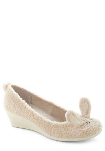 Hop To It Wedge in Cream by BC Footwear - Cream, Print with Animals, Quirky, Wedge, Black, White, Mid, Variation, Solid, Casual, Kawaii, Top Rated
