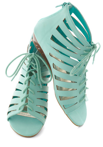 Prance Through Padova Wedge - Solid, Cutout, Urban, Low, Wedge, Lace Up, Mint, Casual, Pastel