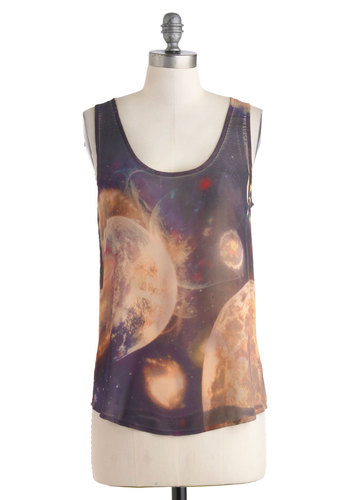 Space to Breathe Top - Multi, Blue, Purple, Black, Casual, Sleeveless, Sheer, Mid-length, Summer, Scoop