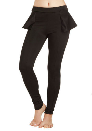 Dapper Dinner Party Leggings - Black, Solid, Casual, Skinny, Party, Girls Night Out, Vintage Inspired, Statement, Urban, Travel, Winter