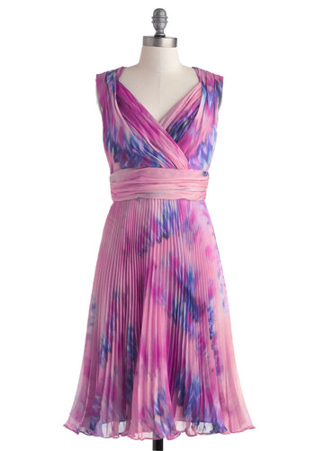 Violets Get Away Dress - Pink, Purple, Print, Pleats, Ruching, Party, Vintage Inspired, A-line, Sleeveless, Spring, Long, V Neck, Wedding, Luxe, Prom, Bridesmaid, Tie Dye