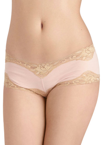 Feeling Joyful Undies - Pink, Solid, Lace, Cotton, Tan / Cream, Pastel