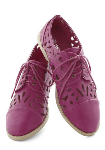 Linzer Cookie Flat - Pink, Solid, Cutout, Menswear Inspired, Flat, Lace Up, Faux Leather, Casual