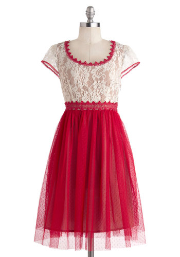 Come and Flamenco Dress - Mid-length, Red, Tan / Cream, Crochet, Lace, Party, Ballerina / Tutu, Cap Sleeves, Scoop, Prom
