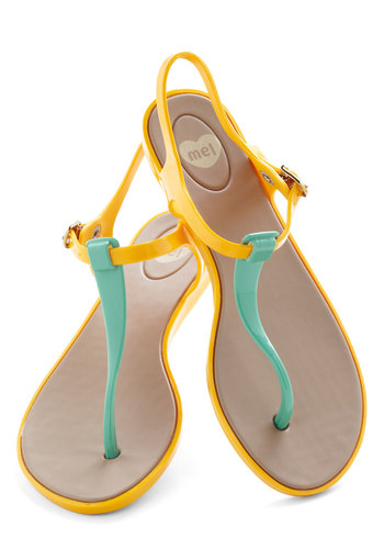 We Really Gel Sandal in Marigold by Mel Shoes - Yellow, Mint, Solid, Colorblocking, Flat, Beach/Resort, Variation, Summer, Travel, International Designer