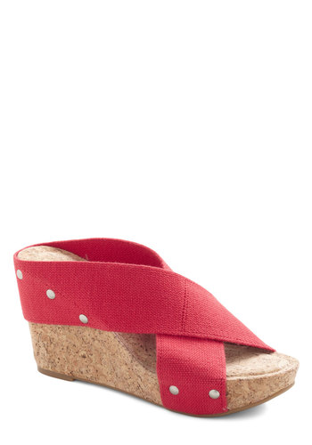 Sunny Spotlight Wedge in Red by Lucky - Red, Solid, Cutout, Studs, Wedge, Peep Toe, Variation, Casual, Daytime Party, Beach/Resort, Nautical, Summer