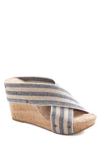 Sunny Spotlight Wedge in Navy and Sand by Lucky - Blue, Cream, Stripes, Cutout, Studs, Wedge, Peep Toe, Mid, Variation, Casual, Daytime Party, Beach/Resort, Nautical, Summer