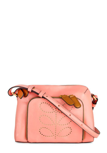 Orla Kiely Boutique a Chance Bag by Orla Kiely - Pink, Brown, Solid, Embroidery, International Designer, Leather, Pastel