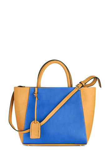 Azure Bet Bag - Blue, Tan / Cream, Solid, Colorblocking, Work