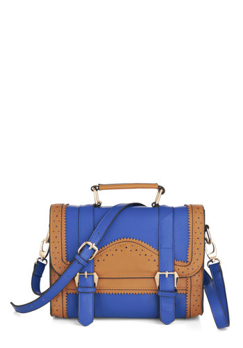 Broguing Rights Bag - Blue, Solid, Buckles, Cutout, Scholastic/Collegiate, Brown, Colorblocking, Work
