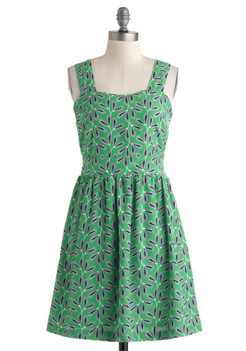Leaf It Up To Me Dress by Tulle Clothing - Mid-length, Green, Blue, White, Novelty Print, Cutout, Casual, A-line, Tank top (2 thick straps), Sweetheart, Bows, Spring, Pockets