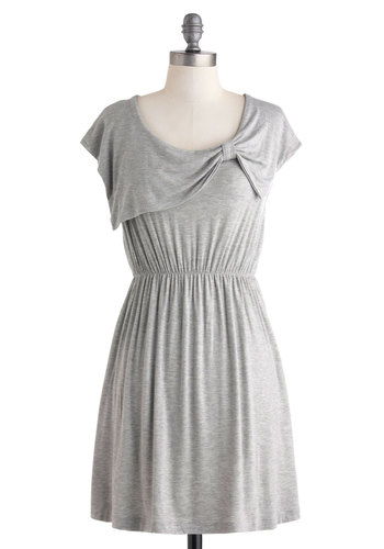 Friends and Alloys Dress in Matte Silver - Short, Grey, Solid, Bows, Casual, A-line, Cap Sleeves, Scoop, Variation, Summer, Travel