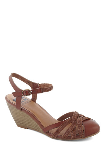 Don't Worry, Be Strappy Wedge in Earth by BC Footwear - Solid, Braided, Mid, Wedge, Variation, Brown, Work, Faux Leather, Spring