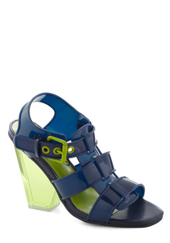 Enthrall in All Heel - Blue, Green, Solid, Cutout, Neon, Woven, Girls Night Out, Vintage Inspired, High, Chunky heel