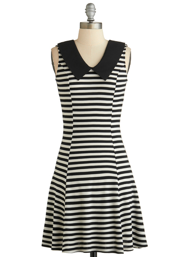 Stripe in the Name of Love Dress - Mid-length, Black, White, Stripes, Peter Pan Collar, Casual, A-line, Sleeveless, Collared, Exclusives, Summer