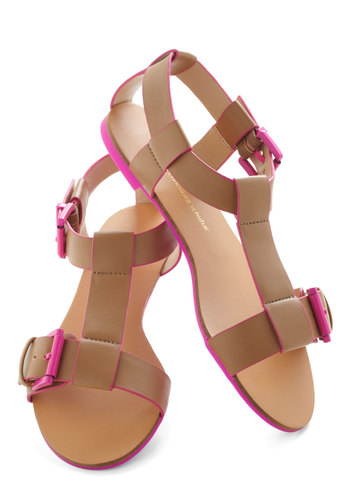 Night Beach Party Sandal - Tan, Pink, Solid, Flat, Summer, Buckles, International Designer, Casual, Beach/Resort, Faux Leather
