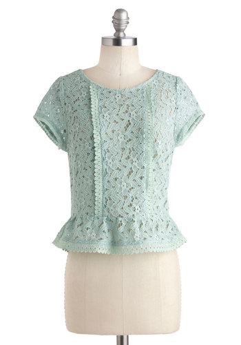 Portland, Oregano Top - Solid, Lace, Ruffles, Cap Sleeves, Cotton, Sheer, Short, Mint, Pastel, Peplum