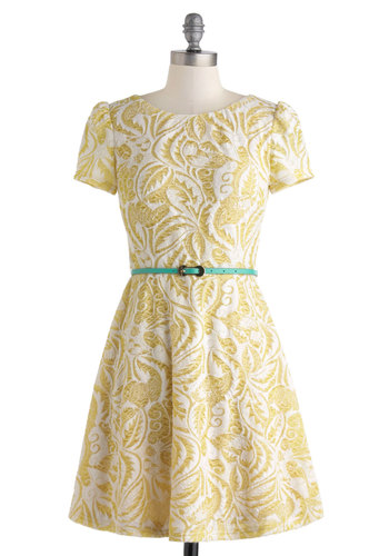 Pineapple Punch Dress - Yellow, Floral, Belted, Cocktail, Folk Art, Short Sleeves, Spring, Mid-length, Tan / Cream, A-line, Crew, Daytime Party