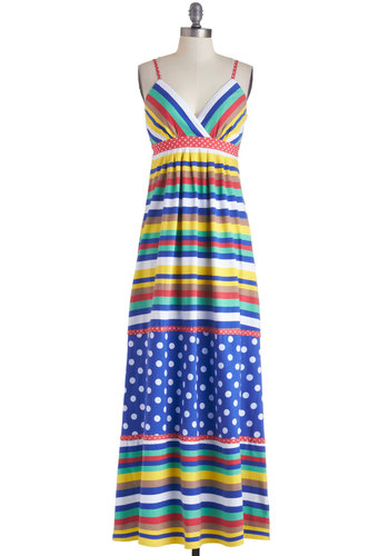 Pattern the Tables Dress - Multi, Stripes, Casual, Maxi, Spaghetti Straps, Summer, Long, V Neck, Red, Yellow, Blue, White, Polka Dots, Boho, Empire