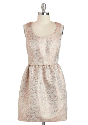 Good as Golden Dress - Gold, Solid, Short, Pockets, Party, Fit & Flare, Tank top (2 thick straps), Scoop, Cocktail, Prom, Press Placement, Holiday Party