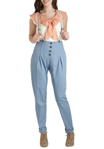 Weekend Unique Pants by Blutsgeschwister - International Designer, Blue, Solid, Buttons, Pleats, Casual, High Waist, Pockets, Vintage Inspired, Cotton