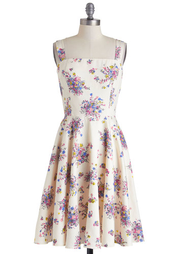 Neighborly Mood Dress by People Tree - International Designer, Cotton, Mid-length, Cream, Multi, Floral, Pockets, Daytime Party, A-line, Tank top (2 thick straps), Eco-Friendly, Graduation, Summer