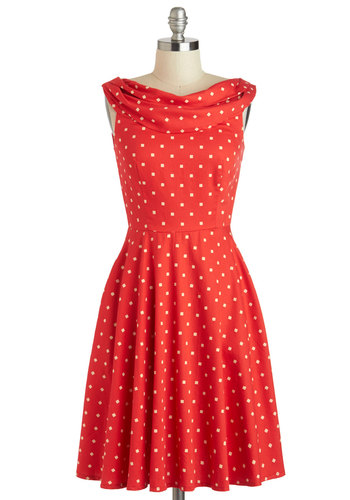 Backyard Date Dress by People Tree - International Designer, Cotton, Mid-length, Red, Tan / Cream, Polka Dots, Party, A-line, Sleeveless, Boat, Pockets, Vintage Inspired, 50s, Eco-Friendly