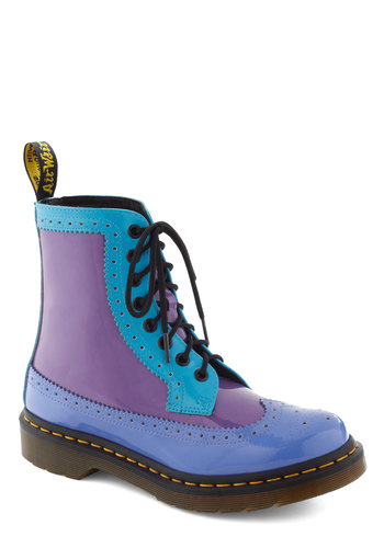 Drum Solo Boot by Dr. Martens - Purple, Solid, Colorblocking, Lace Up, Leather, Blue, Black, Casual, Vintage Inspired, 90s, Statement
