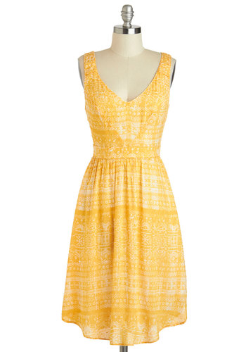 Saffron a Whim Dress by Corey Lynn Calter - Long, Yellow, White, Print, Pockets, Daytime Party, A-line, Tank top (2 thick straps), V Neck, Summer