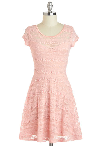 Frilly Friday Dress - Pastel, Sheer, Short, Pink, Solid, Lace, Party, A-line, Short Sleeves, Scoop, Daytime Party