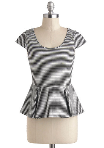 Ice Cream Social Event Top - Multi, Black, White, Stripes, Casual, Peplum, Cap Sleeves, Mid-length