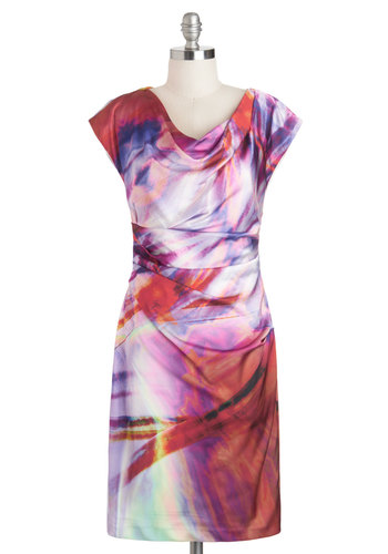 Aurora of Applause Dress - Print, Ruching, Shift, Cap Sleeves, Spring, Mid-length, Multi, Cowl, Red, Orange, Purple, Daytime Party