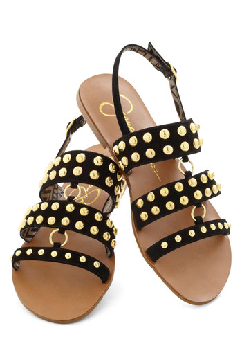 Link Before You Leap Sandal - Black, Solid, Studs, Leather, Party, Daytime Party, Flat, Summer