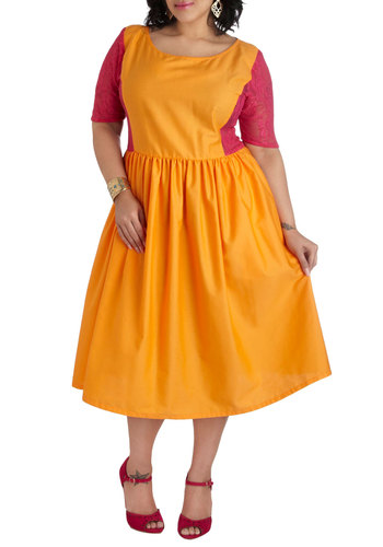 Neon Sights Dress in Plus Size by Youtheary Khmer - Orange, Red, Lace, Pockets, Party, A-line, Short Sleeves, Scoop, Colorblocking, Spring, Sheer