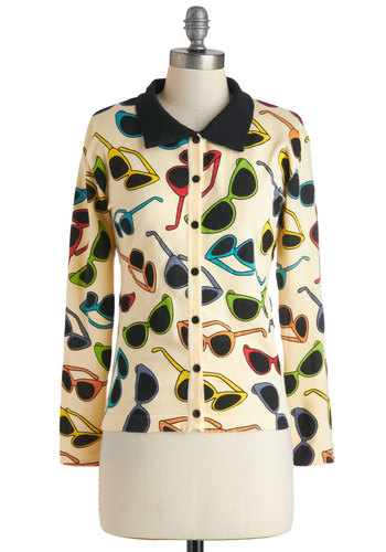 Glasses Half Full Cardigan - Cream, Red, Orange, Yellow, Green, Blue, Purple, Buttons, Long Sleeve, Mid-length, Vintage Inspired, 50s, Top Rated
