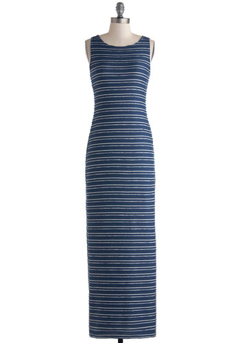 Vacation Timeless Dress by Jack by BB Dakota - Blue, Grey, White, Stripes, Cutout, Casual, Maxi, Tank top (2 thick straps), Scoop, Long, Travel