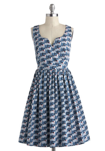 Orla Kiely Laps of Luxury Dress by Orla Kiely - Blue, White, Novelty Print, A-line, Sleeveless, Spring, International Designer, Cotton, Mid-length, Buttons, Cutout, Pockets, Daytime Party, Nautical, Luxe