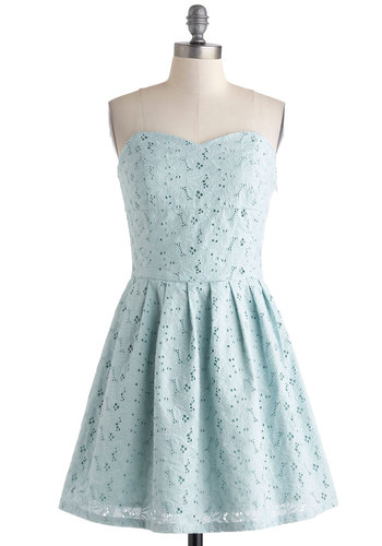 Rather Pond of You Dress by Jack by BB Dakota - Blue, Solid, Eyelet, Pleats, Daytime Party, A-line, Strapless, Sweetheart, Summer, Cotton, Mid-length