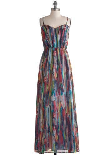 Rinsed by the Rain Dress by Jack by BB Dakota - Multi, Print, Party, Maxi, Spaghetti Straps, Sweetheart, Beach/Resort, Prom, Long