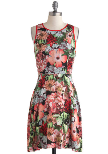 Slight Change of Plants Dress by Jack by BB Dakota - Multi, Floral, Cutout, A-line, Tank top (2 thick straps), Crew, Daytime Party, Beach/Resort, Summer, Mid-length
