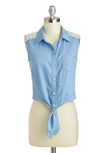 Rad Road Trip Top - Blue, White, Lace, Sleeveless, Denim, Short, Summer, Travel