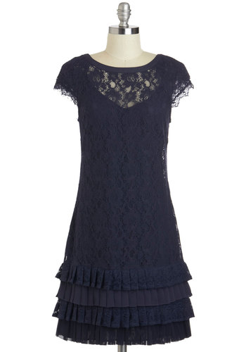 Presentation and Accounted For Dress - Blue, Solid, Lace, Ruffles, Tiered, Cocktail, Sheath / Shift, Cap Sleeves, Scoop, Wedding, Vintage Inspired, 20s, 30s, Luxe, Mid-length, Prom, Bridesmaid