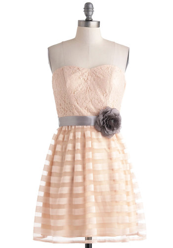 Bliss is the One Dress - Pink, Flower, Lace, Strapless, Spring, Sweetheart, Grey, Belted, Daytime Party, A-line, Graduation, Prom, Summer