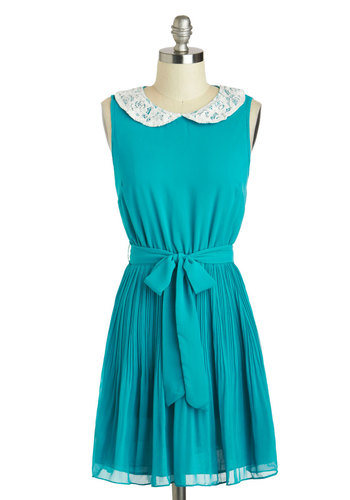Just Me and Blue Dress - Short, Blue, White, Solid, Lace, Peter Pan Collar, Belted, Casual, A-line, Sleeveless, Collared, Pleats, Summer