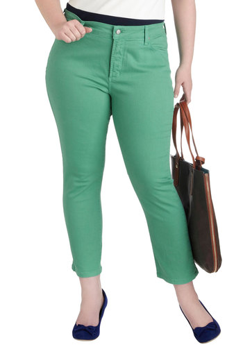 Shopping Assistant Jeans in Jade - Plus Size - Cotton, Variation, Green, Work, Casual, Pockets, Denim