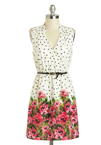 My Favorite Thing Dress - Short, White, Red, Green, Black, Polka Dots, Floral, Belted, Daytime Party, Sheath / Shift, Sleeveless, V Neck
