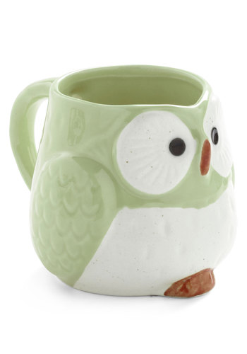 Owl Warm and Cozy Mug in Mint - Green, Owls, Pastel, Mid-Century